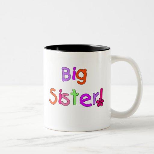 Bright Text Big Sister Two-Tone Coffee Mug