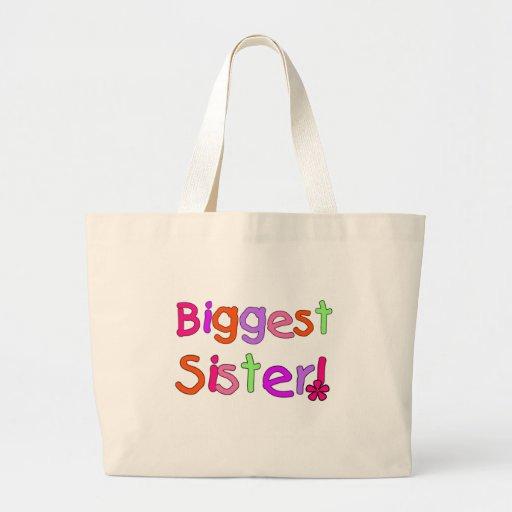 Bright Text Biggest Sister Jumbo Tote Bag