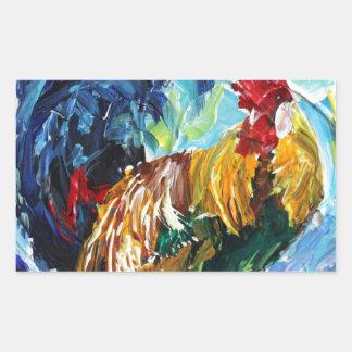 Bright textured design Ken the Rooster Rectangular Sticker