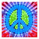 Bright Tie Dye Peace Sign Invitations