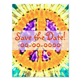 Bright Tie Dye Peace Sign Invitations