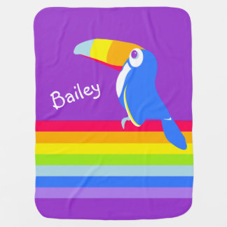 Bright toucan bird rainbow name blanket baby blanket