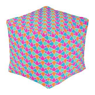 Bright Traditional Islamic Pattern Cube Pouf