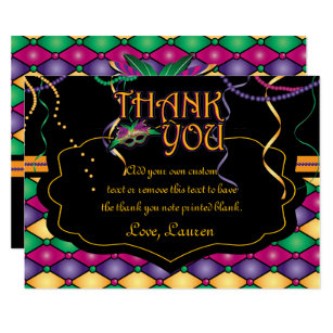 Mardi gras thank you cards greeting photo cards zazzle bright traditional mardi gras thank you cards m4hsunfo Images