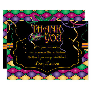 Bright Traditional Mardi Gras Thank You Cards