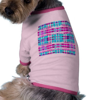 Bright Trendy Pink Teal Multicolor  Stripes Patter Pet T Shirt