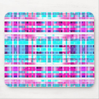 Bright Trendy Pink Teal Multicolor  Stripes Patter Mouse Pad