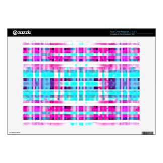 Bright Trendy Pink Teal Multicolor  Stripes Patter Acer Chromebook Decal