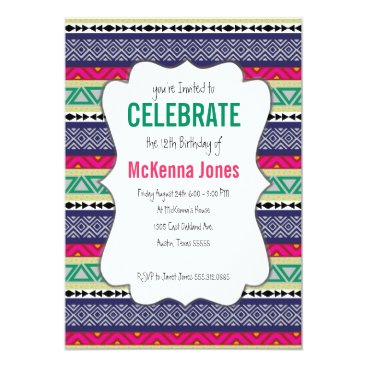 Aztec Themed Bright tribal Aztec pattern Birthday Invitation