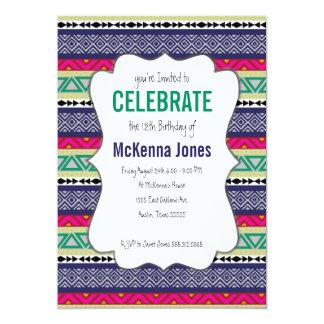 "Bright tribal Aztec pattern Birthday Invitation 5"" X 7"" Invitation Card"