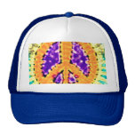 Bright Trippy Hippie Tie Dye Peace Sign Trucker Hat
