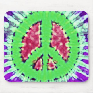 Bright Trippy Hippie Tie Dye Peace Sign Mouse Pad