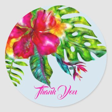 Wedding Themed Bright Tropical Floral Hibiscus & Leaves Favor Classic Round Sticker