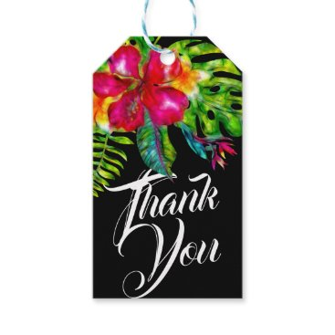 Wedding Themed Bright Tropical Floral Hibiscus & Leaves Favor Gift Tags