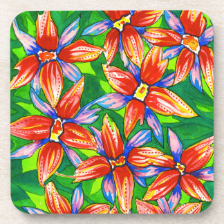 Bright Tropical Flower Coasters Set of 6