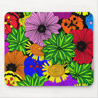 Bright Tropical Flowers Mouse Pad
