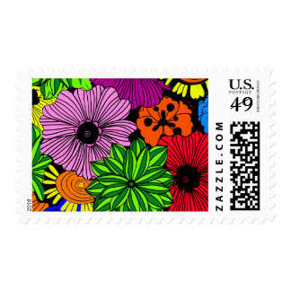 Bright Tropical Flowers Stamps