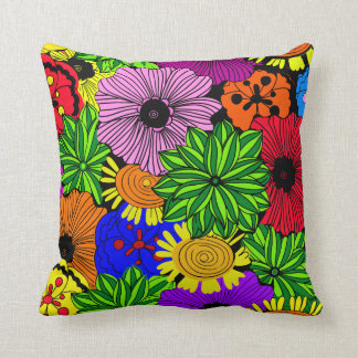 Bright Tropical Flowers Throw Pillow