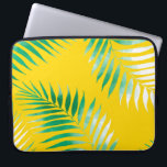 """Bright tropical green watercolor palm tree pattern computer sleeve<br><div class=""""desc"""">Bright tropical green watercolor palm tree hand drawn on bright yellow by Girly Trend</div>"""