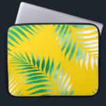 "Bright tropical green watercolor palm tree pattern computer sleeve<br><div class=""desc"">Bright tropical green watercolor palm tree hand drawn on bright yellow by Girly Trend</div>"