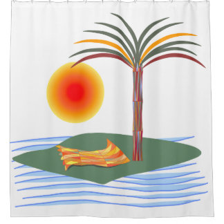 Bright Tropical Palm Tree, Sun and Waves Shower Curtain