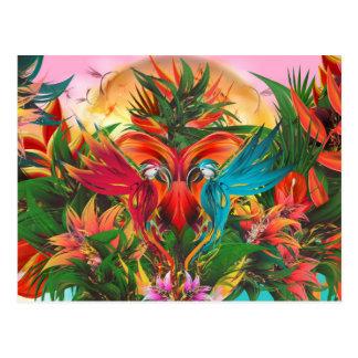 Bright Tropical Parrot Art Postcard