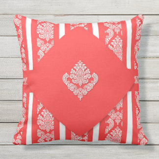 Bright Tropical Salmon Hues with White Damask Outdoor Pillow