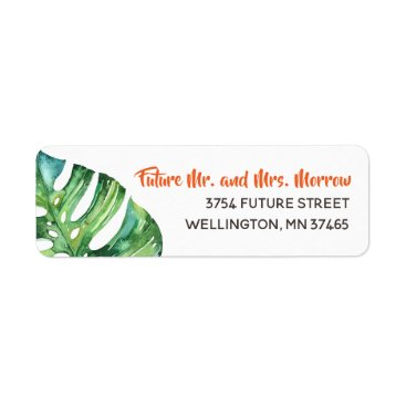 Hawaiian Themed Bright Tropical Watercolor Flower Return Address Label