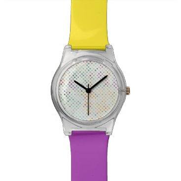Beach Themed Bright Tropical Watercolor Polka Dots Wristwatch