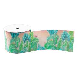 Bright tropical watercolor summer cactus pattern grosgrain ribbon