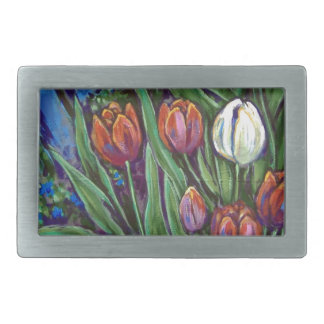 bright tulips by fence belt buckles