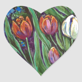 bright tulips by fence heart sticker