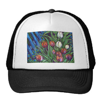 bright tulips by fence trucker hat