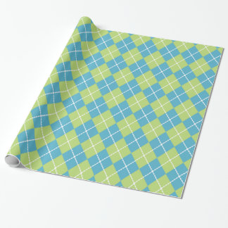 Bright Turquoise and Lime Argyle Wrapping Paper