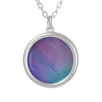 Bright Turquoise and Teal with Pink Blended Art Round Pendant Necklace