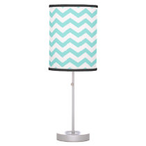 Bright Turquoise and White Chevron Pattern Desk Lamp