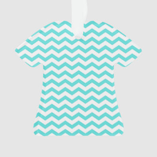 Bright Turquoise and White Chevron Pattern Ornament