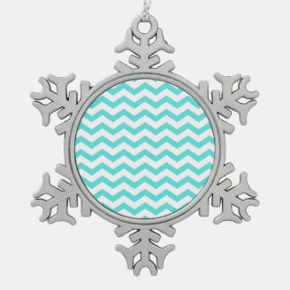 Bright Turquoise and White Chevron Pattern Snowflake Pewter Christmas Ornament