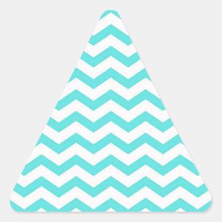 Bright Turquoise and White Chevron Zigzag Pattern Triangle Sticker