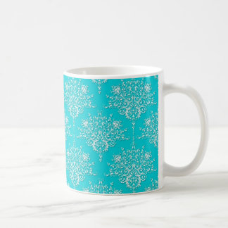 Bright Turquoise and White Floral Damask Coffee Mug