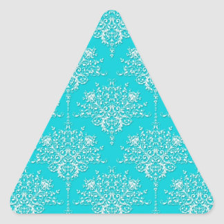 Bright Turquoise and White Floral Damask Triangle Sticker