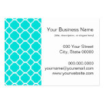 Bright Turquoise and White Quatrefoil Pattern Large Business Card