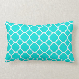 Bright Turquoise and White Quatrefoil Pattern Lumbar Pillow