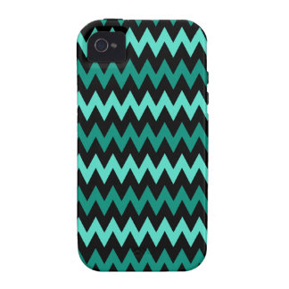 Bright Turquoise Black Chevron Zigzag Pattern iPhone 4 Covers