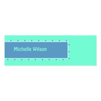 Bright Turquoise Blue mod box Double-Sided Mini Business Cards (Pack Of 20)