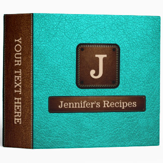 Bright Turquoise Elegant Recipe Leather Look 3 Ring Binder