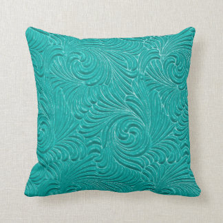 Bright Turquoise Embossed Floral Damasks Pillows