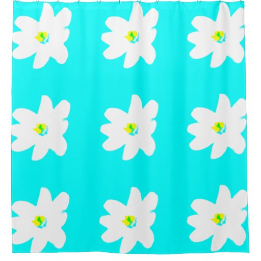 Bright Turquoise Floral For Frances Shower Curtain Zazzle