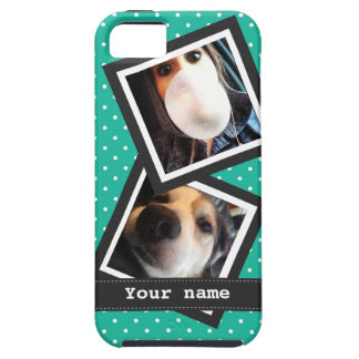 Bright Turquoise Polkadots with IG Photos and Name iPhone 5 Cases