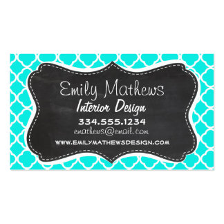 Bright Turquoise Quatrefoil; Chalkboard look Business Card Template